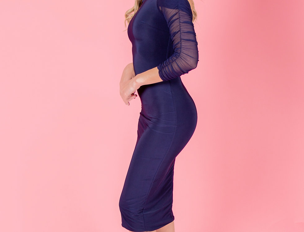 Love For All Blue Ruched Bardot Dress