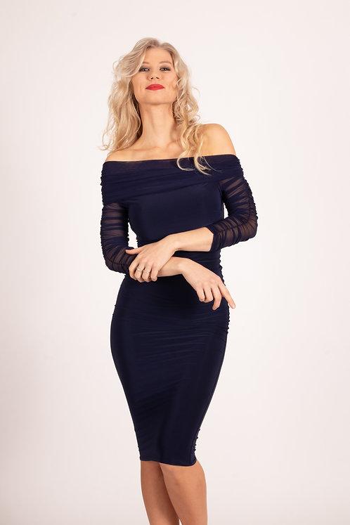 Blue Krista Ruched Mesh Bardot Dress