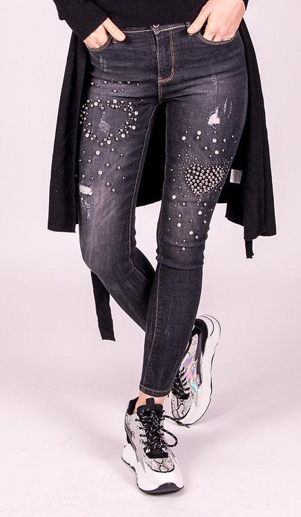 Pearl Bead Encrusted Jeans