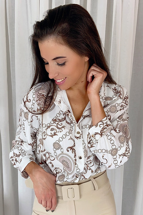 Genevieve White Classic Blouse