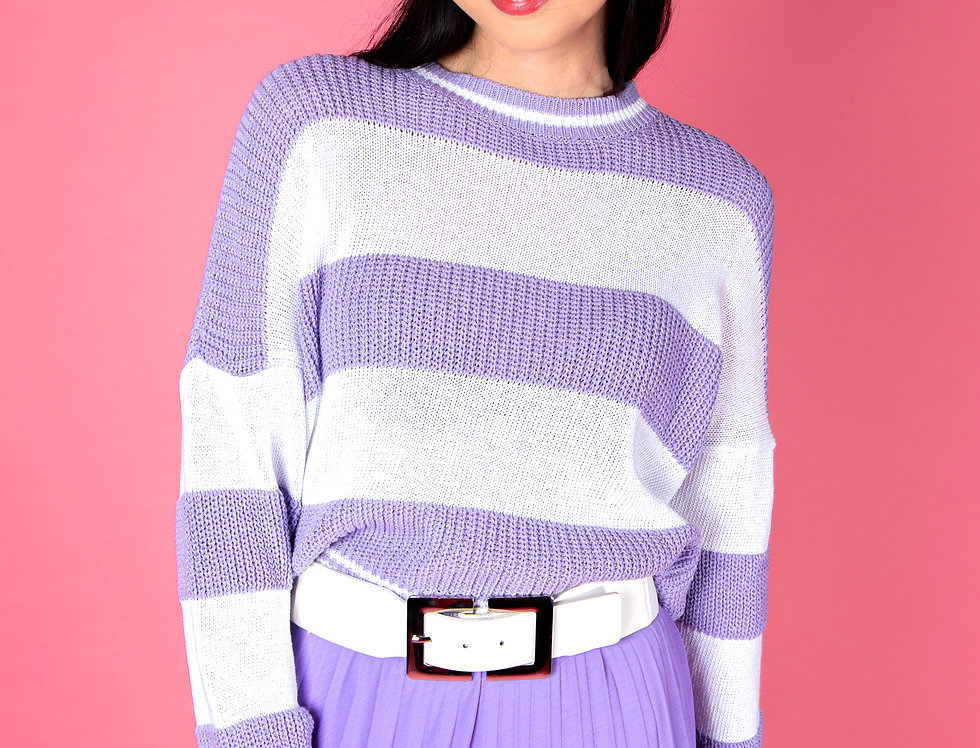 Have I Ever Purple And White Knitted Sweater