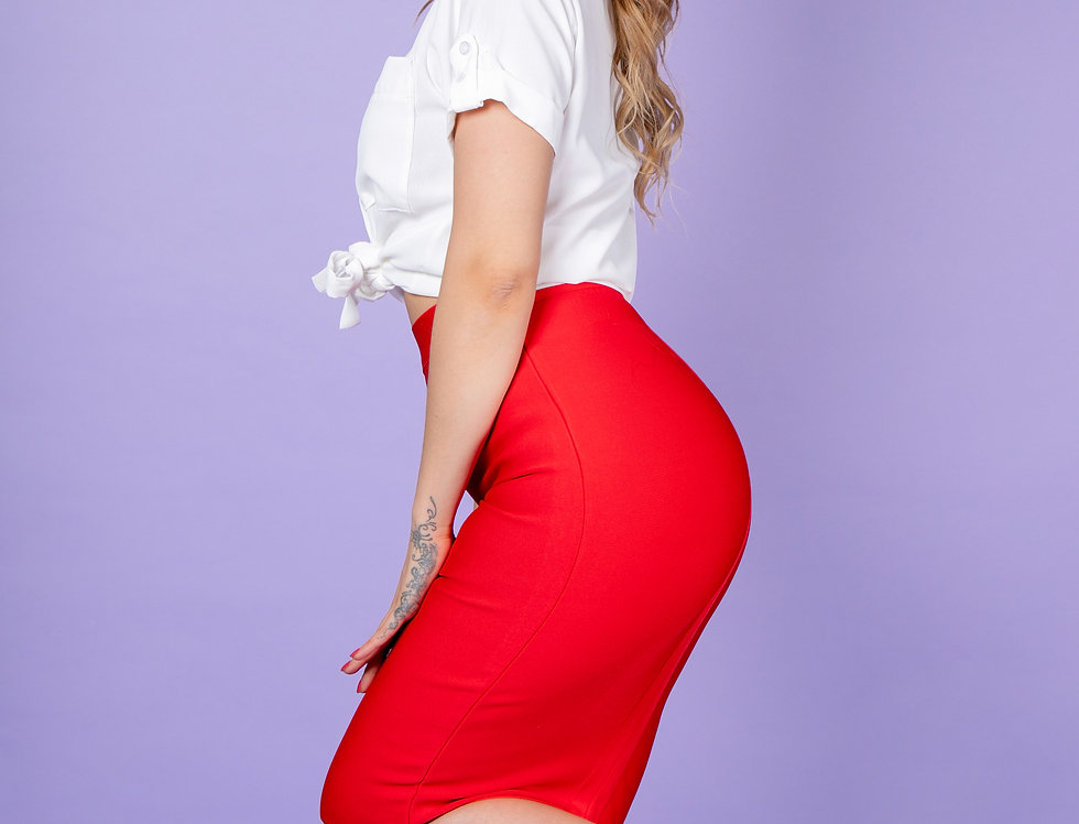 Don't Mess With Me Red Pencil Skirt
