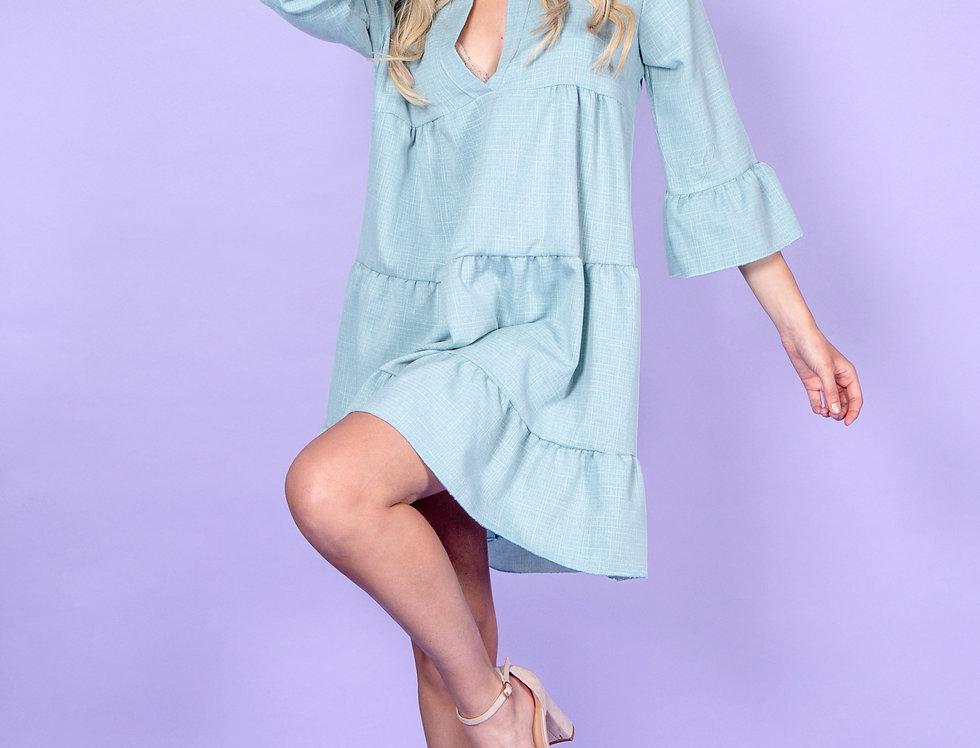 Fizzy Flamingo Blue Dress