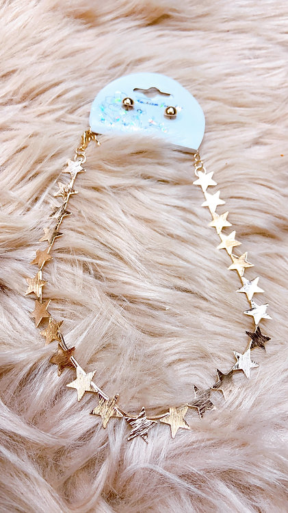Golden Star Necklace With Earrings