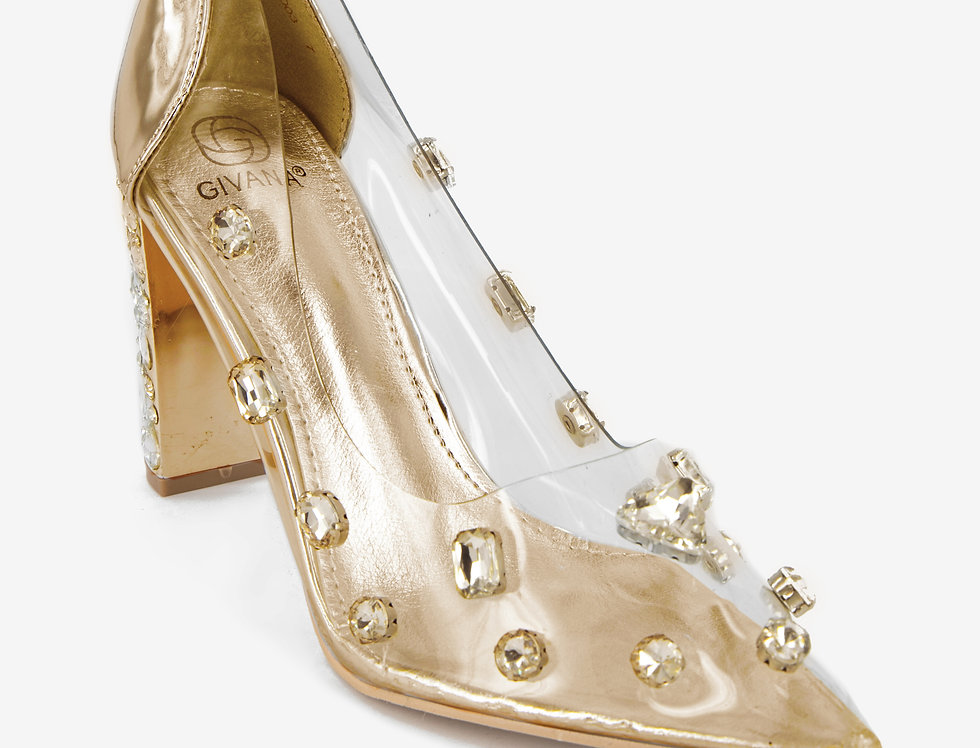 Clearly A Diamond Transparent Champagne Pumps