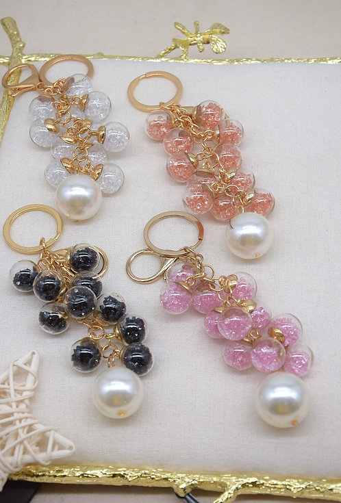 Clear Glass Ball Key Ring