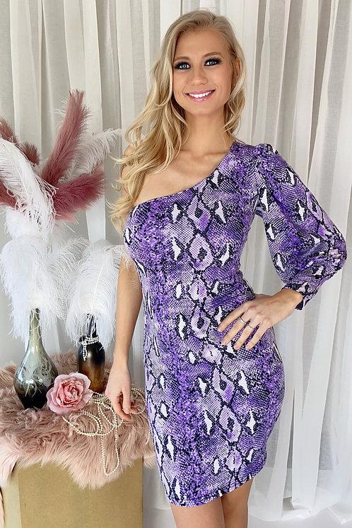 Muriel Purple Snake Print Dress