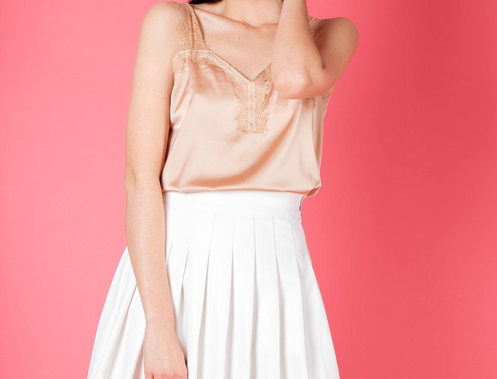 Odilia White Leather Mini Skirt