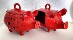 Garlic pot and salt pig by Elaine