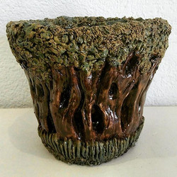 Carved coiled candle lamp by Debbie
