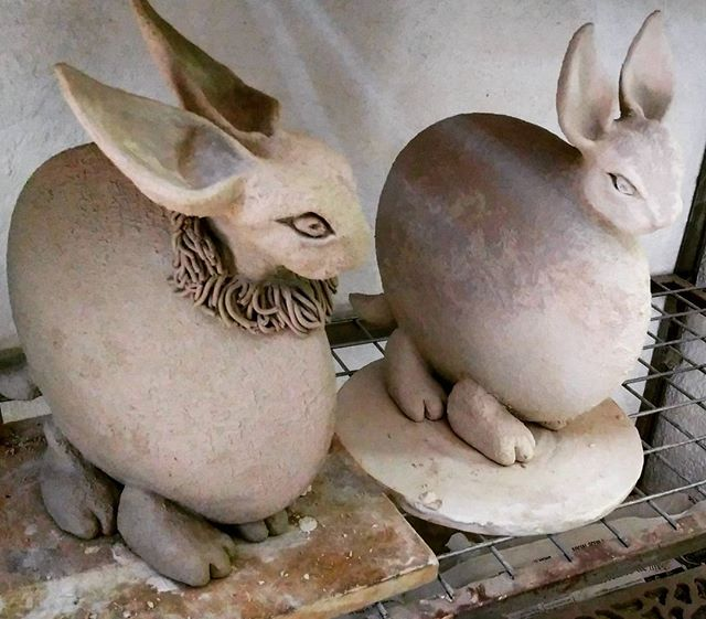 Rabbit sculptures by Olga
