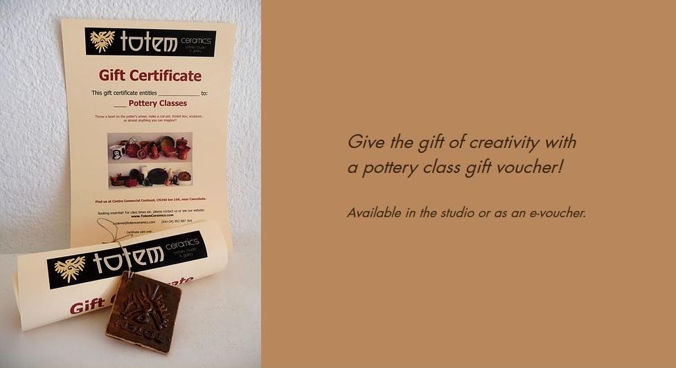 Pottery class gift vouchers