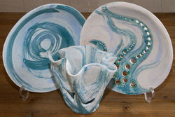 Dishes and vase by Lesley