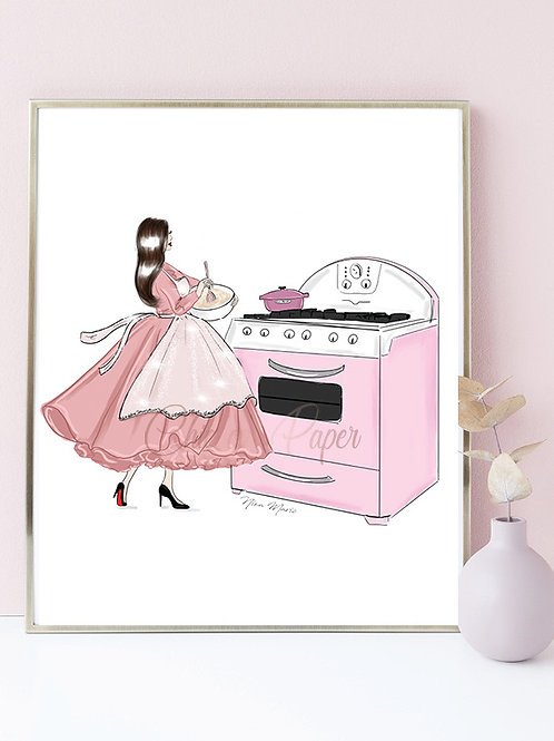 Pink gown and matching oven art print