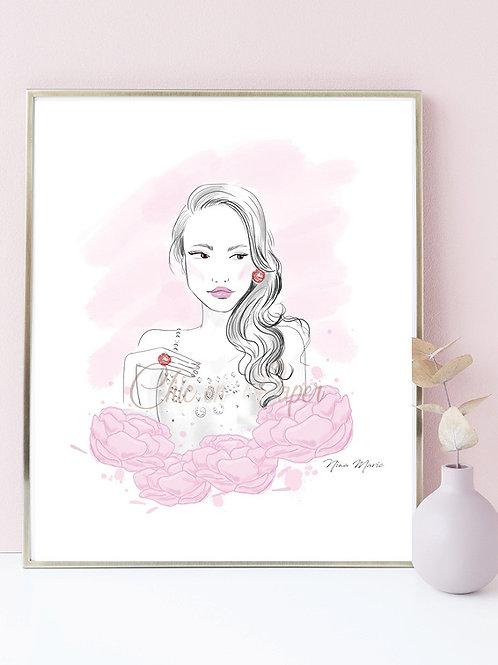 Floral glam girl illustration