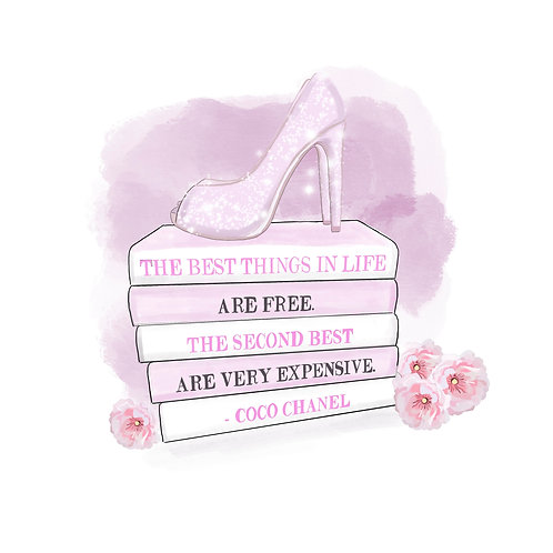 Pink sparkly shoes and motivational quote print - Chic on Paper