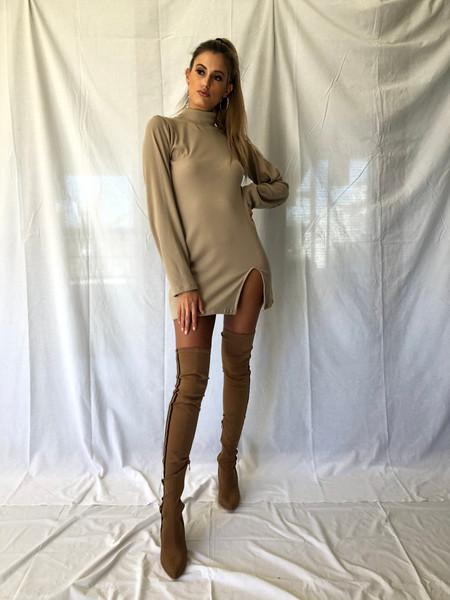 Knit Polo Neck Dress
