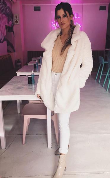 Faux Fur Cream Long Jacket