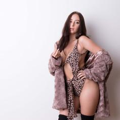Long Faux Fur Jacket Brown R799