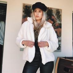 Faux Fur Cream Short Jacket R699