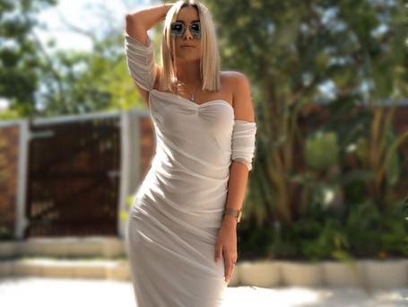 Rouche Mesh Long Dress R499