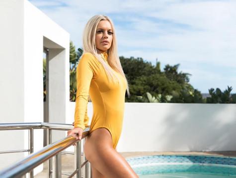 Mustard Polo neck Bodysuit R349