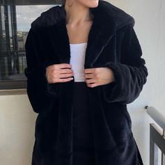 Long Faux Fur Black Jacket R849