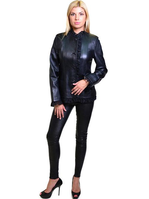 Куртка из натуральной кожи с отделкой из кружева