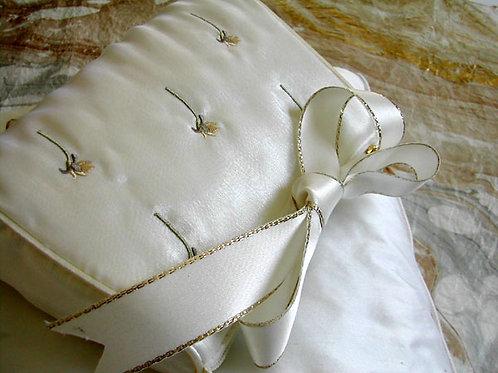 Gold-Edged Bridal White Satin*