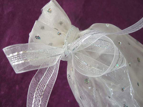 Gossamer White / Silver (16mm width only, by the metre)