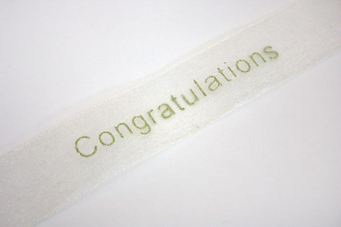 25mm Congratulations Organza Pale Ivory / Gold