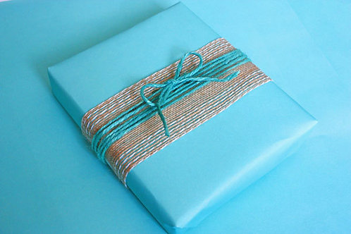 Turquoise Natural Jute Twine (shown with Stitched Edge Hessian)