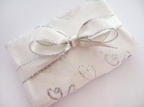Silver-Edged Bridal White Satin