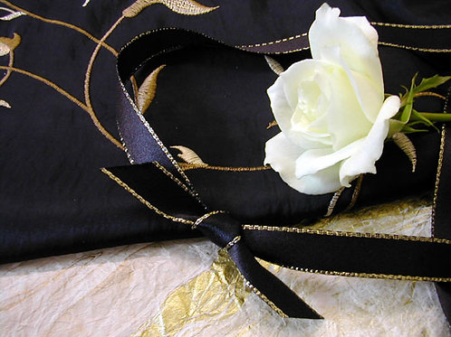 Gold-Edged Black Satin (3mm & 25mm only)