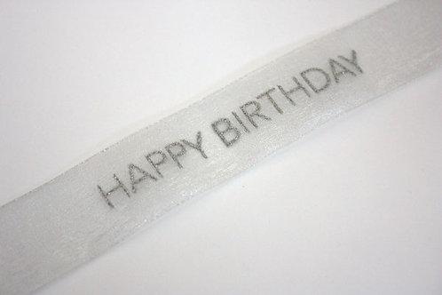 Happy Birthday Organza Ribbon Silver /Silver