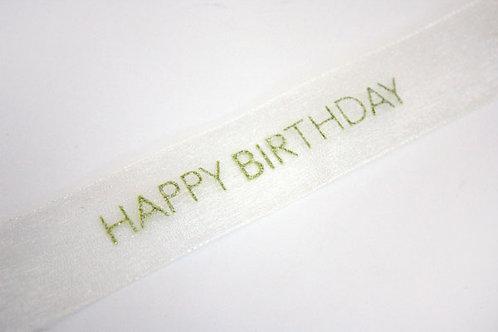 Happy Birthday Organza Ribbon Pale Ivory / Gold