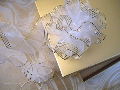 White / Gold Drawstring Organza