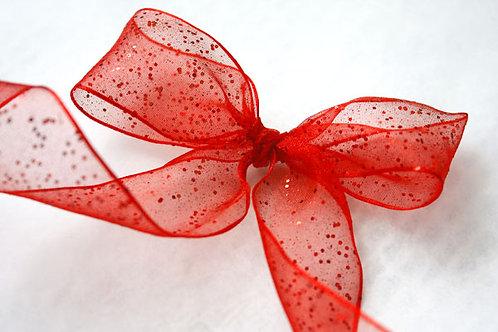 Red Glitter Organza (Wired)
