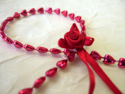 Pink Heart Garland (shown with Rose Bow)