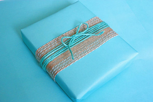 Stitched-Edge Hessian (shown with Turquoise Jute Twine)