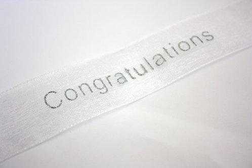 25mm Congratulations Organza White / Silver