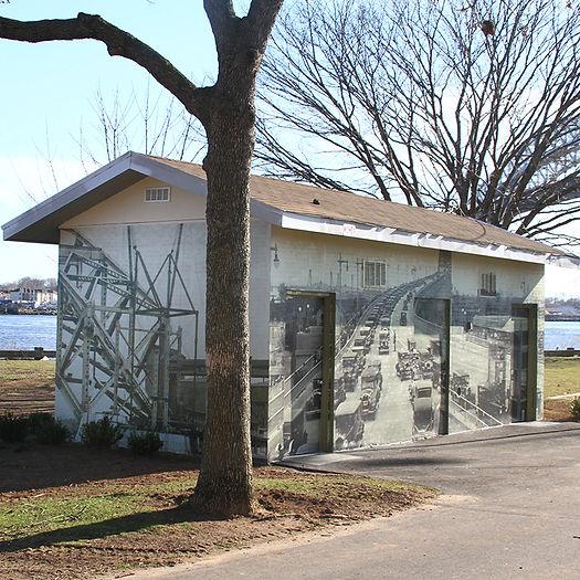 Dennis P. Collins Park public art mural bayonne bridge bathroom