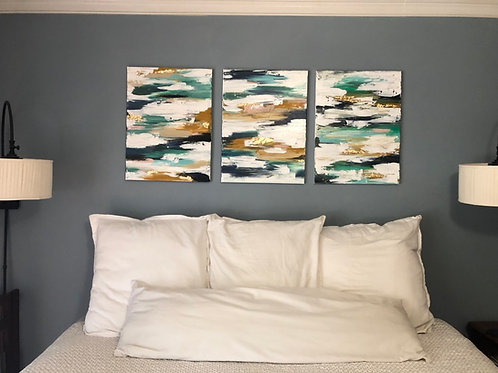 Abstract Gold Leaf Triptych