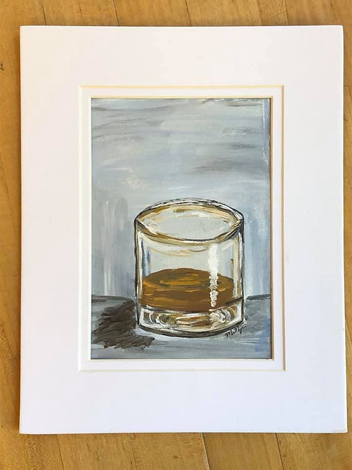 Whiskey Glass paining, matted