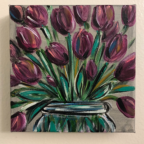 Purple Floral Mini Canvas