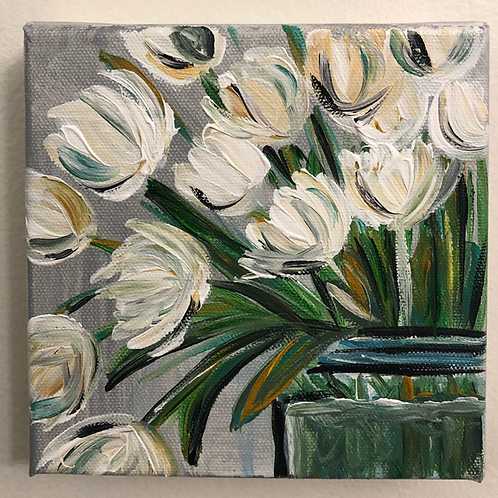 White Floral Mini Canvas