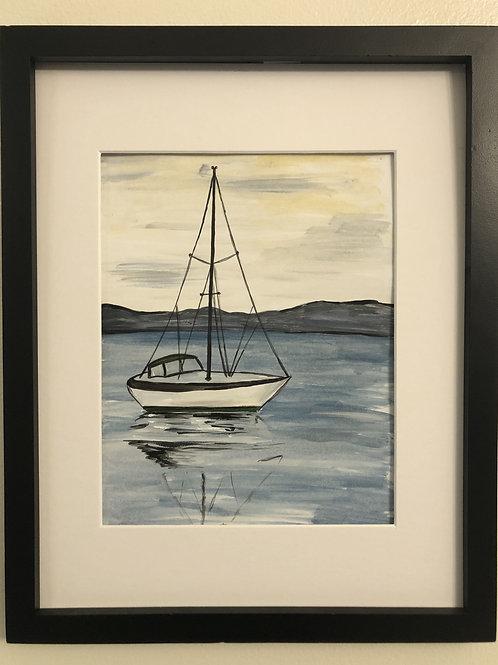 Sailboat print matted