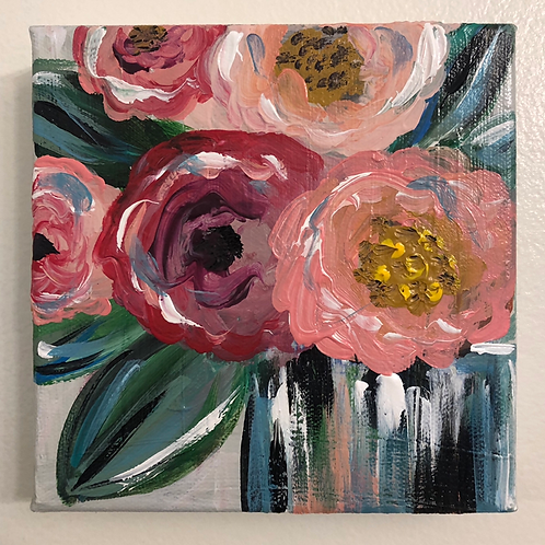 Pink and Red Floral Mini Canvas