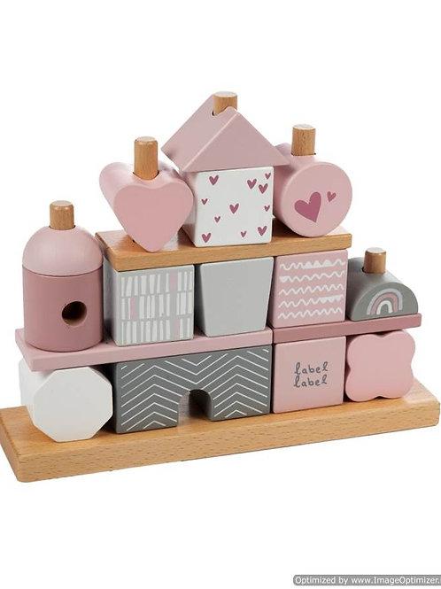 Stapelblokken huisje roze