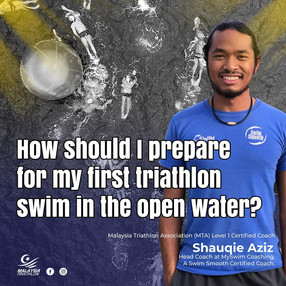 How should I prepare for my first triathlon swim in the open water?